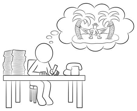 writing chair: illustration of a man in the office dreaming of vacation on a desert island Illustration