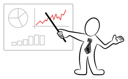 illustration of a man holding a presentation Illustration