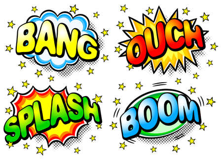 illustration of four colorful effect bubbles with bang, ouch, splash, boom