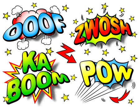 vector illustration of four colorful effect bubbles with ooof, zwosh, ka boom, pow Vectores