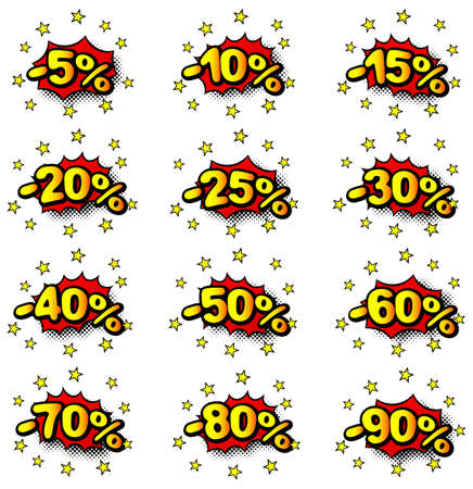 60 70: vector illustration of some percent comic labels  Illustration