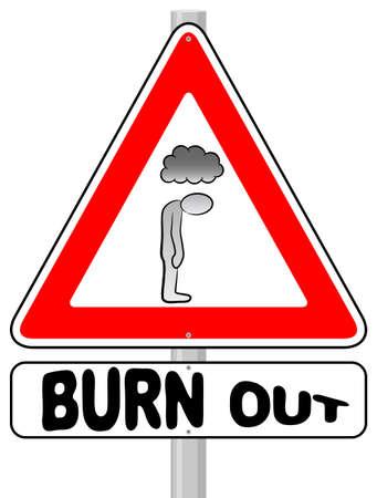burnout: vector illustration of a burnout warning sign