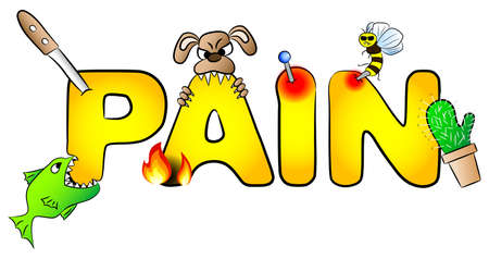 agony: illustration of the word pain with many aches