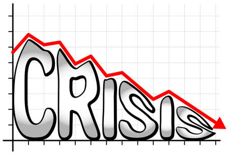 recession: illustration of a falling chart with the writing crisis Illustration