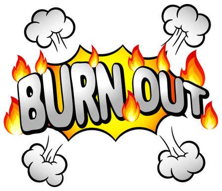burn out: illustratie van een effect bel met burn-out Stock Illustratie