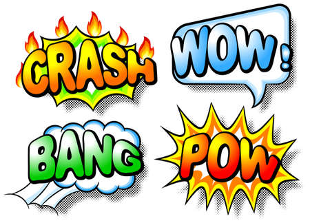 pow: illustration of four colorful effect bubbles with chrash, wow, bang and pow