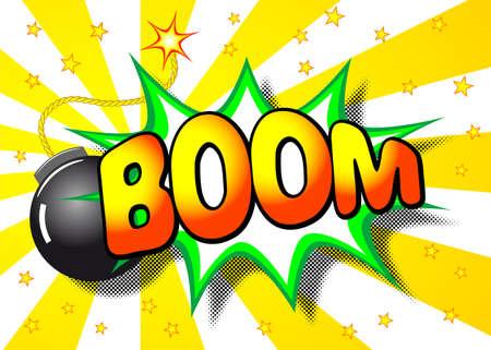 단어 붐 만화 폭발의 그림