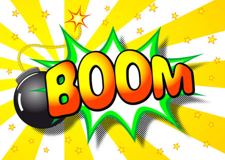 illustration of a cartoon explosion with the word boom Stock Illustratie