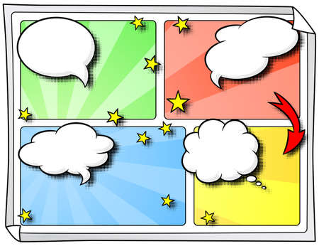 comic book:   illustration of some comic frames as background with speech bubbles