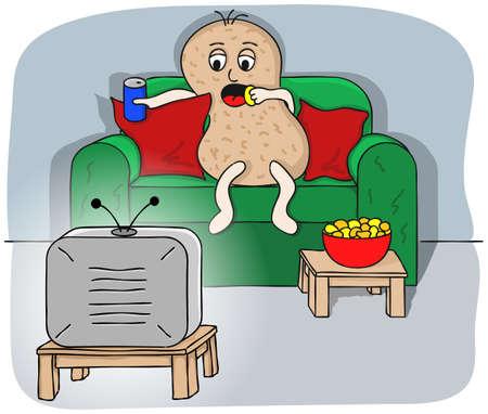 テレビを見てソファのジャガイモのイラスト
