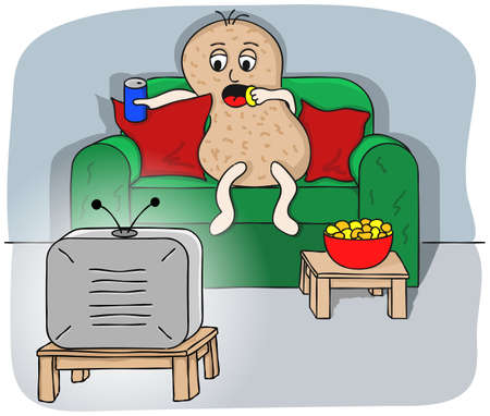 living room sofa:  illustration of a couch potato watching tv
