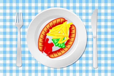 illustration of a laid table with sausage, french fries and ketchup Vector