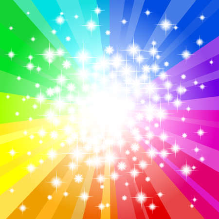illustration of a abstract rainbow colored star background  Vector