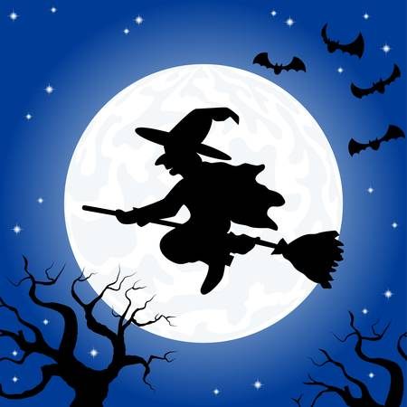 vector illustration of a witch flying over the moon  Vector