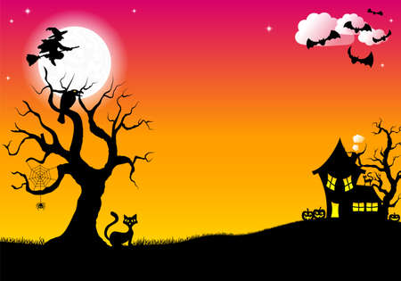 illustration of halloween silhouette background Stock Illustratie