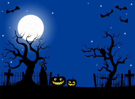 illustration of scary halloween background with pumpkin on the cemetery in the dark night with full moon