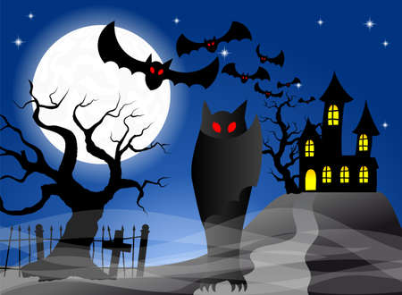 illustration of a haunted castle with bats Vector