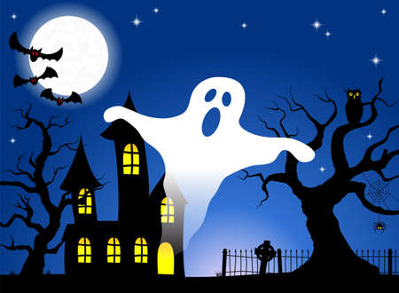illustration of a haunted house in a full moon night  Vector