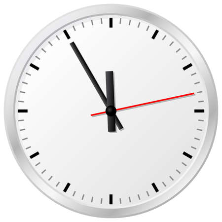 wall clock: illustration of a plain wall clock in the eleventh hour