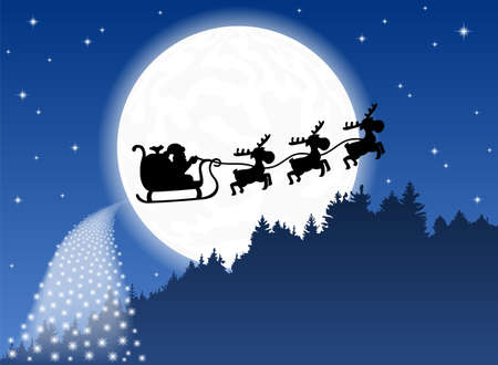 vector illustration of Santa Claus and his reindeer sleigh backlit by the full moon Vector