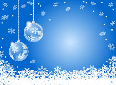 vector illustration of a abstract blue snowflake background with two christmas baubles Vector