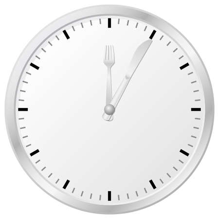 mealtime: vector illustration of a plain wall clock and time for lunch