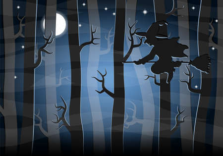 twilight: vector illustration of a witch flying at night through the forest Illustration