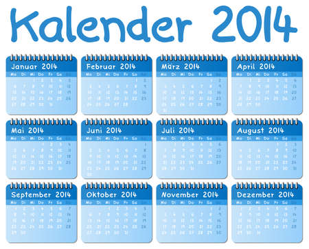 illustration of a german calendar 2014 week starts on Monday Vector