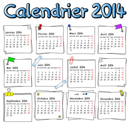 illustration of a french calendar 2014 week starts on Monday Vector