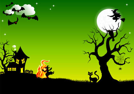halloween tree: illustration of a witch dancing around the fire at halloween
