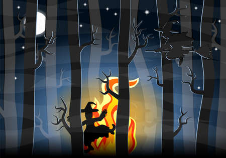 witch silhouette:  illustration of witches dancing around a fire at night in the forest Illustration
