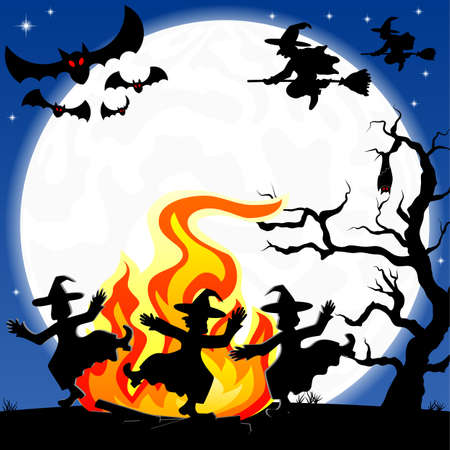 flying witch:  illustration of witches dancing around the fire at halloween