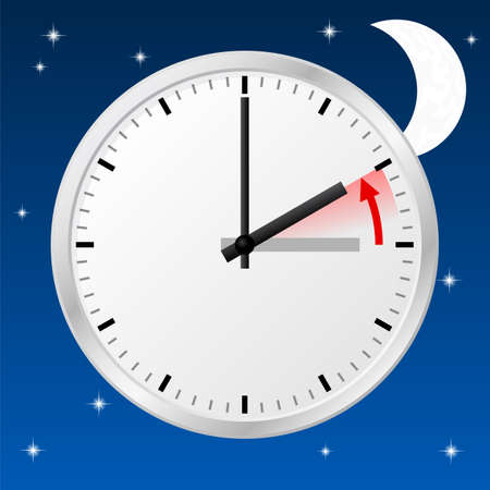 winter time: vector illustration of a clock return to standard time