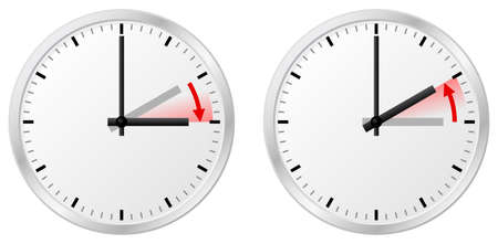 illustration of a clock switch to summer time and return to standard time Vectores
