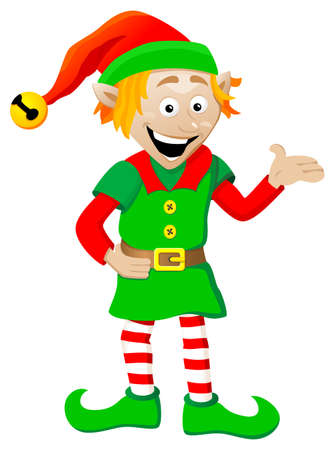 vector illustration of a christmas elf on white background