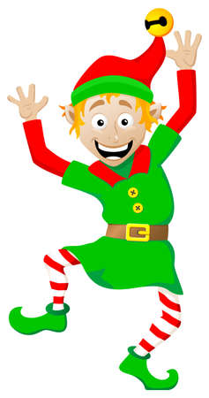 dwarf christmas: vector illustration of a christmas elf on white background