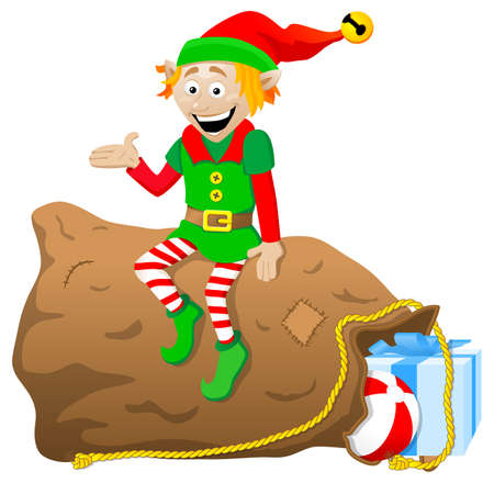 elf hat: vector illustration of a christmas elf on white background
