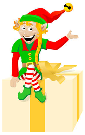 vector illustration of a christmas elf on white background Stock Vector - 22971787