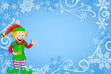 vector illustration of a blue christmas background with a christmas elf Vector