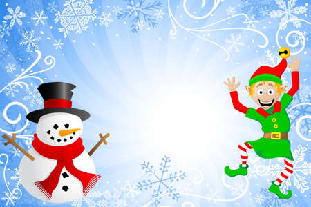 pixie: vector illustration of a blue christmas background with a snowman and an elf Illustration