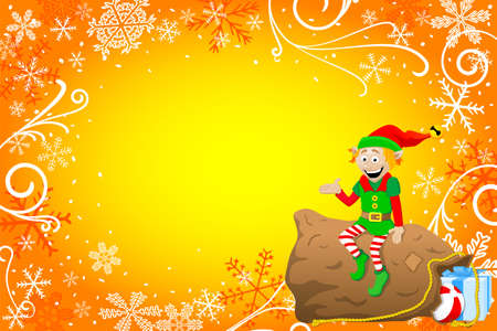 vector illustration of a christmas background with elf Vector