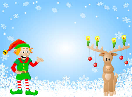 vector illustration of a christmas card with elf and reindeer Vector