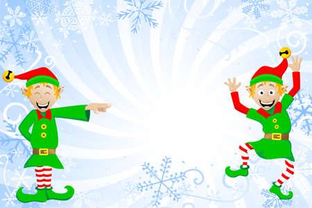 elf christmas: ilustraci�n vectorial de un fondo azul de la Navidad con los duendes