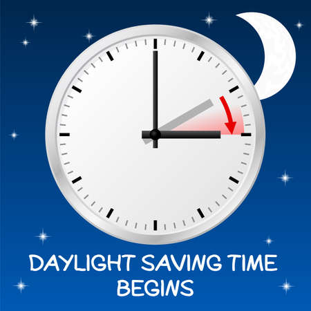 time change: vector illustration of a clock switch to summer time  daylight saving time begins Illustration