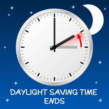 winter time: vector illustration of a clock return to standard time daylight saving time ends Illustration