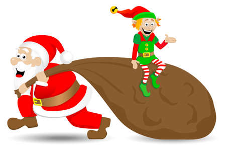 vector illustration of santa claus with christmas elf on white background Vector