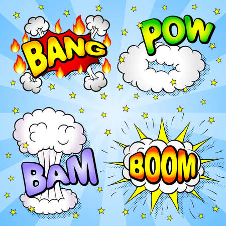 bam: vector illustration of some cartoon text explosions