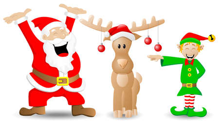 vector illustration of santa claus, reindeer and christmas elf on white Vector