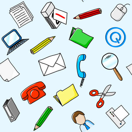 vector illustration of a office supplies seamless background Vector