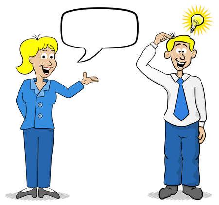caricatura: ilustración vectorial de un hombre de negocios y la mujer tiene una idea